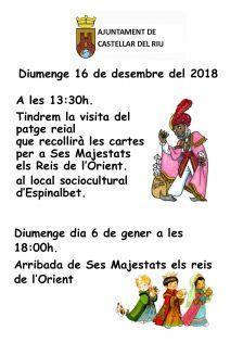Diumenge dia 6 de gener a les 18:00h. Arribada de Ses Majestats els reis de l'Orient